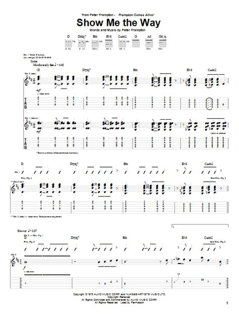 show me the way guitar tab by frton guitar tab
