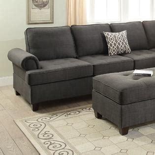 black fabric sofa living room furniture esofastore living room furniture ash black dorris fabric 2pc sectional sofa set reversible