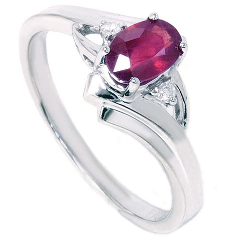 Ruby 14 8ct 5 8ct oval ruby ring 14k white gold ebay