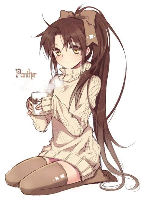 Sweater Cofee Anime anime with ponytail adorable hair do search guides you and i