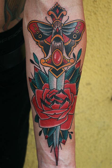 dagger through rose tattoo tattoos by stefan johnsson dagger
