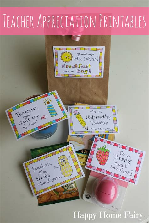 ideas for teachers 5 simple appreciation gifts free printables