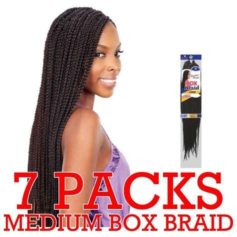 box braids with 2 packs of hair amazon com freetress braid box braid medium 1b beauty
