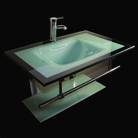 Glass Bathroom Vanity Top Shop Kokols Usa Aqua Green Integrated Single Sink Bathroom Vanity With Tempered Glass And Glass