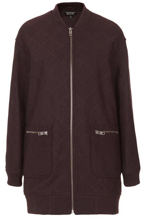 Topshop Quilted Bomber Jacket by Topshop Quilted Line Bomber Jacket In Purple Lyst