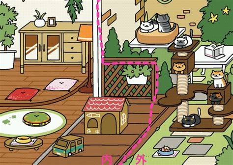 zen layout neko atsume illustrated inside outside item placements all yards