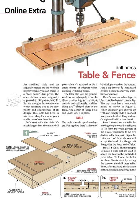 drill press table and fence plans woodarchivist