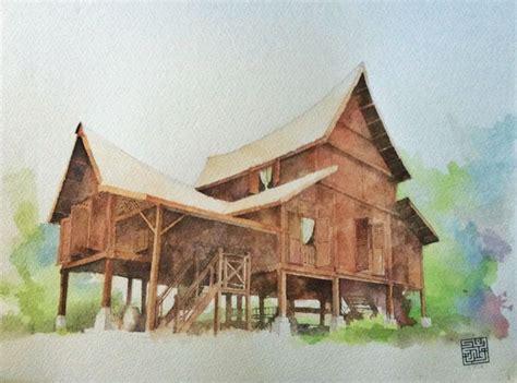 lukisan rumah kampung