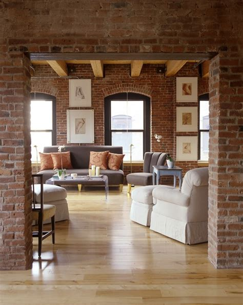 brick loft 59 cool living rooms with brick walls digsdigs