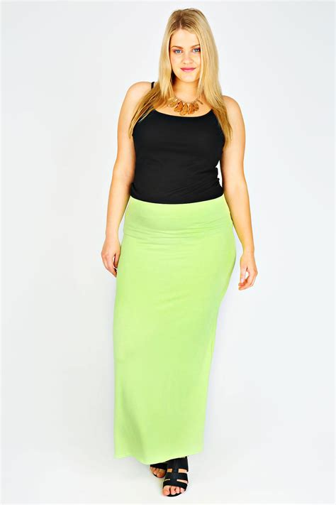 lime maxi skirt with elasticated waist plus size 14