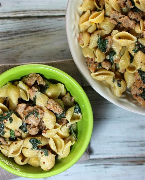 pasta sausage shell pasta with sausage and greens recipe dishmaps