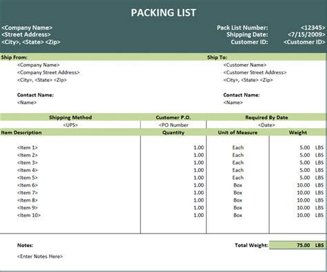 export packing list template excel templates