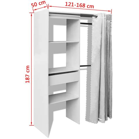 armadio tenda vidaxl armadio con tenda larghezza regolabile 121 168 cm