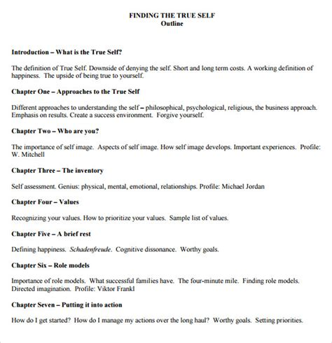 8 Useful Book Outline Templates To Download Sle Templates Writing A Novel Outline Template
