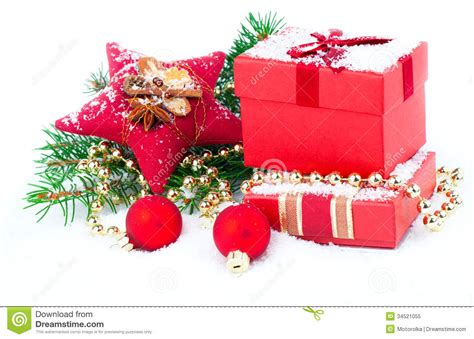 festive decorations christmas red gift with festive decorations royalty free