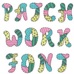 Patchwork Font - home format fonts embroidery font patchwork alphabet from