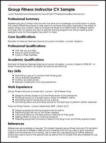 fitness instructor cv sle myperfectcv