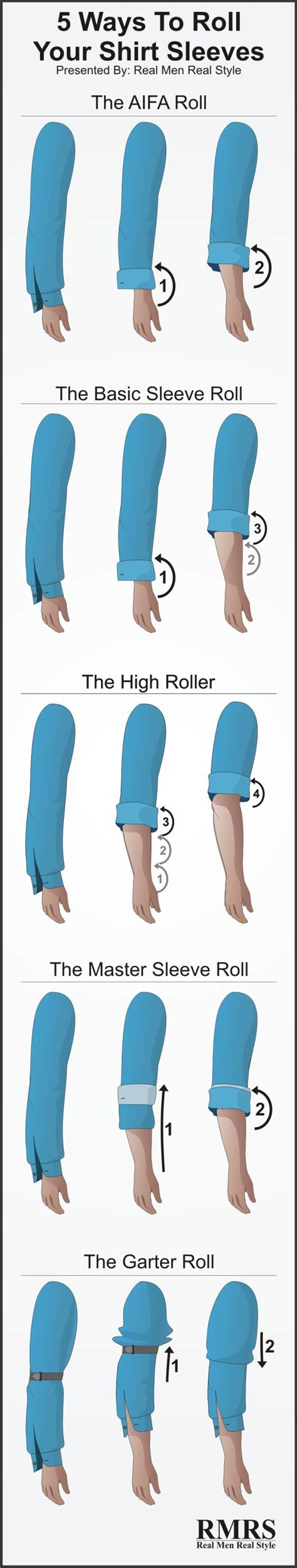 how to my to roll how to roll shirt sleeves 5 ways to fold your shirt sleeves sleeve rolling infographic