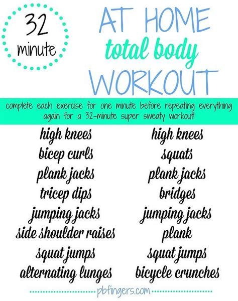 32 minute home workout poster popsugar fitness