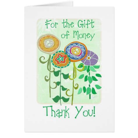 Thank You Cards For Money Gifts - thank you for the gift of money card zazzle