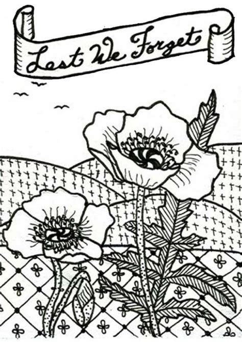 remembrance day poppy coloring page coloring home