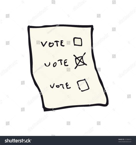 doodle general poll general election ballot paper drawing stock vector