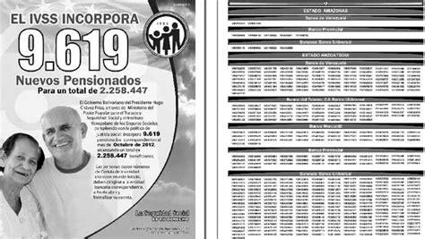 ivss amor mayor listado 2014 lista de nuevos pensionados de amor mayor 2015