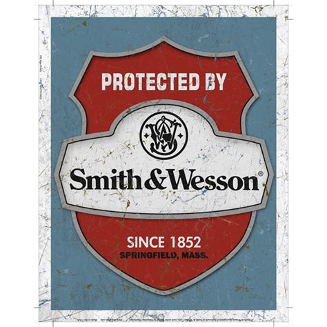 protected by smith wesson since 1852 vintage style tin