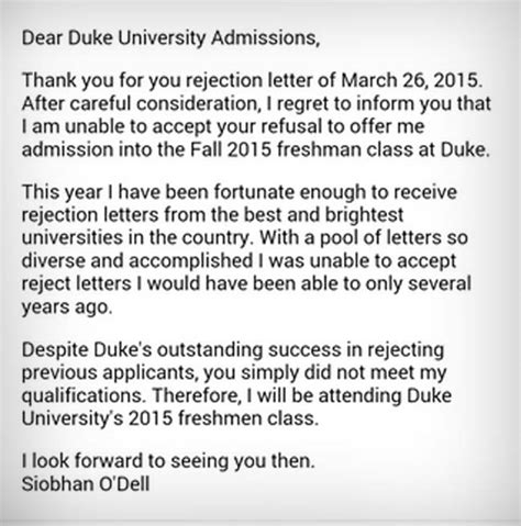 College Admission Rejection Letter Sle Going Viral 17 Year Student Rejects A S Rejection Letter
