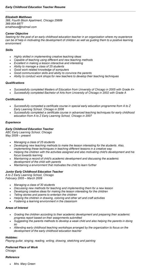 Early Childhood Resume Sles Australia Career Objective For A Resume