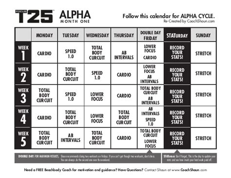 Calendario T25 T25 Calendar