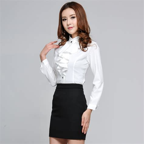Blouse Wanita Clasic Black womens suit blouse fantastic white womens suit blouse