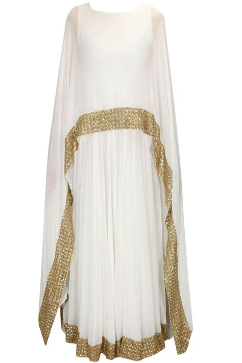 cape designs white shimmer embellished border cape gown anarkali
