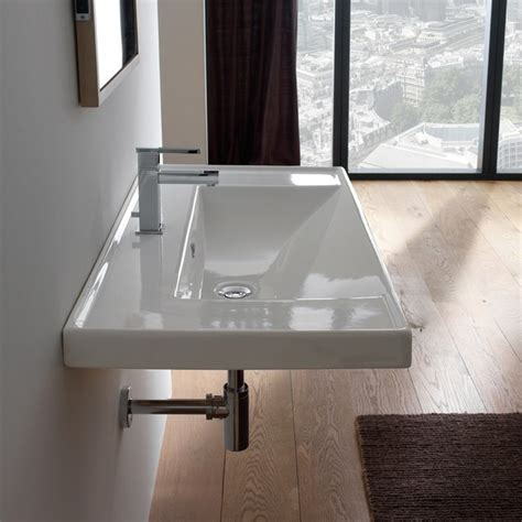 Modern Rectangular Bathroom Sinks Wide Rectangular Modern Self Or Wall Mounted
