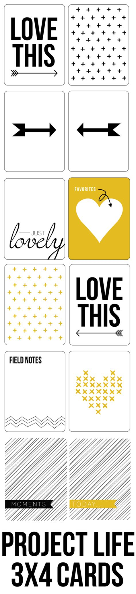 3x4 cards template free yellow black project cards free black