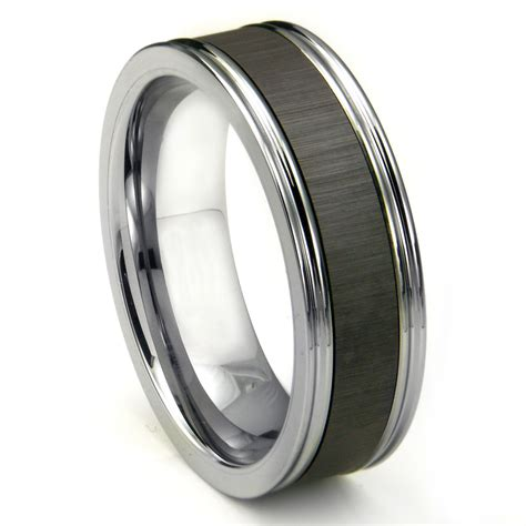 tungsten carbide chagne ceramic inlay wedding band ring