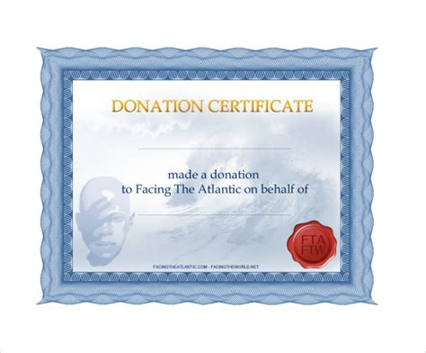 Sample Donation Certificate Template   6  Free Documents