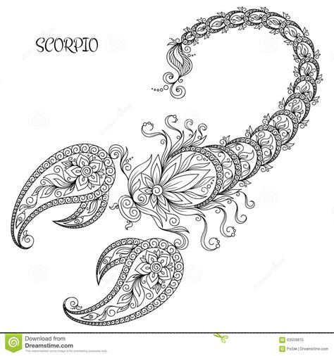 hand drawn pattern for coloring book zodiac scorpio stock