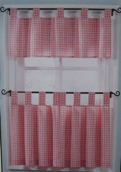 tab top kitchen curtains country style picnic check tab top tier 3 pieces set cafe kitchen curtain ebay