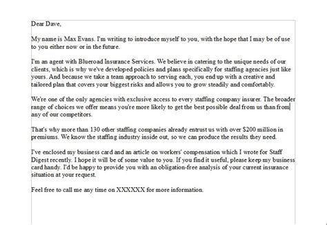 sales prospecting letter for a sales person that is