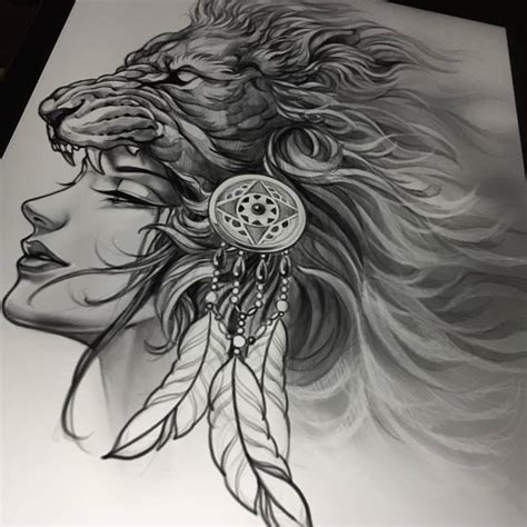 girl lion tattoo designs classic black and grey design