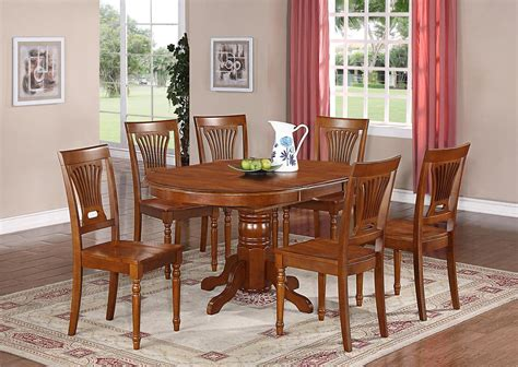 Kitchen Dining Table Set 7 Pc Oval Dinette Kitchen Dining Set Table W 6 Wood Seat Chairs In Saddle Brown