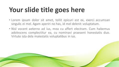Modern Green Waves Powerpoint Template Presentationgo Com Green Powerpoint Templates