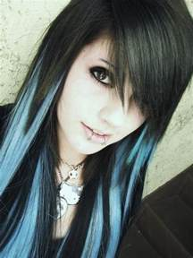 black with colored hair black and blue hair color