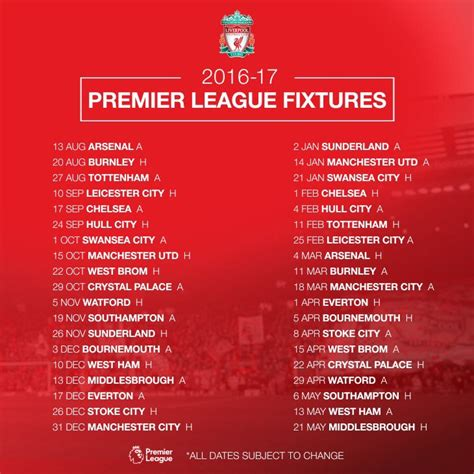 printable liverpool schedule view topic premier league fixtures list in full 2016 2017
