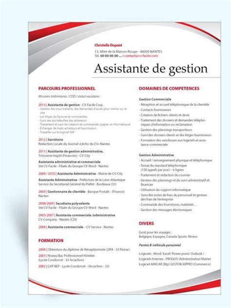 mod 232 le cv original assistante de gestion cv