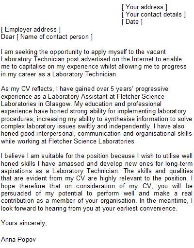 laboratory technician cover letter sle