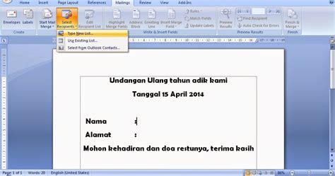 tutorial membuat mail merger cara membuat surat masal mail merge pada microsoft