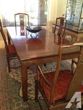 henredon pan asian dining room set  china cabinet