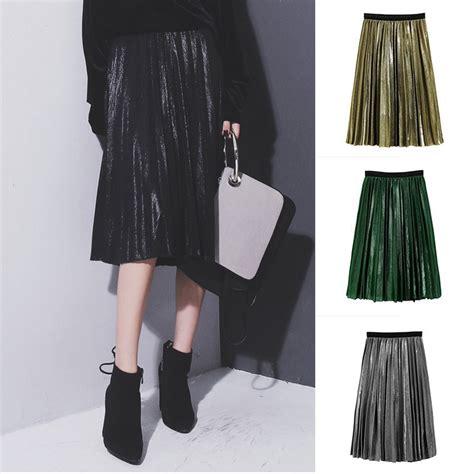 Rok Skirt Anak By Lemari Anak rok midi wanita model high waist lipit warna silver